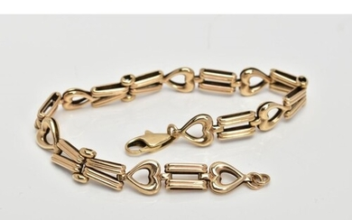 A 9CT GOLD BRACELET, designed with textured tapered links in...