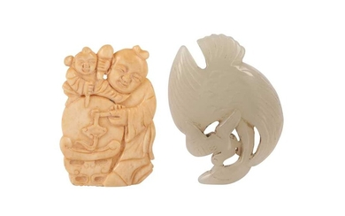 A CHINESE PALE CELADON 'BIRD' GROUP AND A BONE 'BOYS' CARVING.