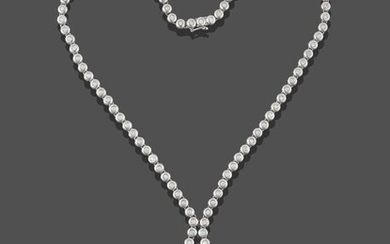 A Diamond and Cultured Pearl Négligée Necklace, the chain...
