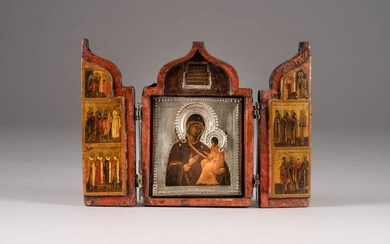 A MINIATURE TRIPTYCH SHOWING THE TIKHVINSKAYA MOTHER OF GOD,...