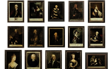 A collection of fifteen reverse prints on glass, Various Artists (18th Century)