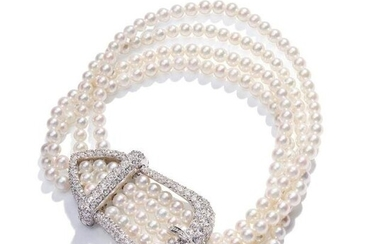 A cultured pearl and diamond bracelet, by Tiffany & Co.
