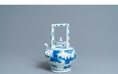 A large Chinese blue and white 'scholars' wine ewer and cove...