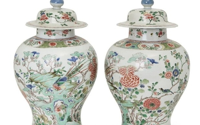 A large pair of Chinese jars and covers, 19th century,...