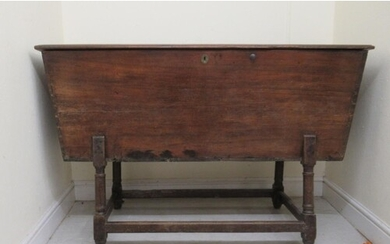 A late 18th/early 19thC mahogany dough bin of boarded constr...