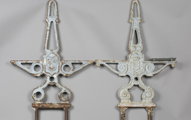 A pair of French cast iron garden double-sided bench ends, detailed 'JAF 1965' and bearing