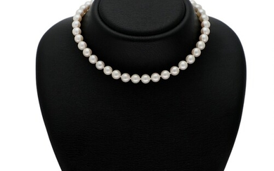 NOT SOLD. A pearl necklace set with numerous cultured pearls and with a clasp of...