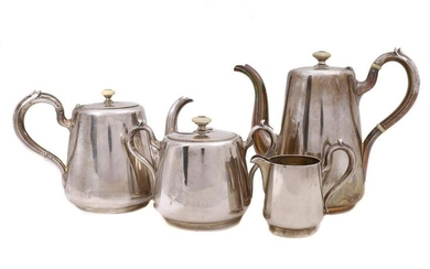 AN ANTIQUE SILVER-GILT RUSSIAN COFFEE AND TEA SET