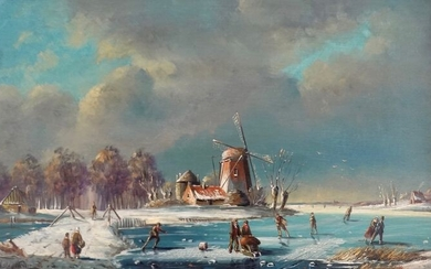 Abraham Verneer. (XIX/XX) - Winter lake scene with figures and windmill.