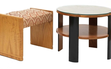 An Art Deco walnut and ebonised two-tier table