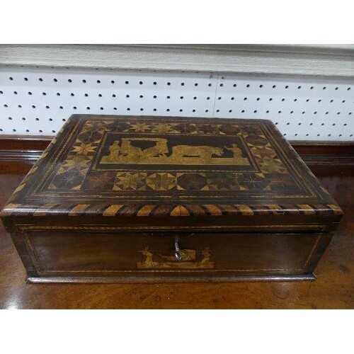 An early 19thC marquetry Deed Box, the whole inlaid with fru...