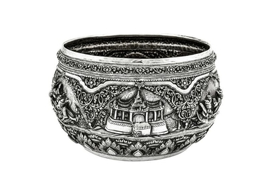 An early 20th century Burmese unmarked silver bowl