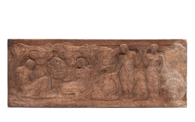 An early 20th century carved oak panel: with standing and se...