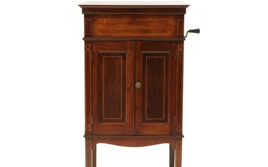 An early 20th century inlaid mahogany Bassanophone gramophone and cabinet