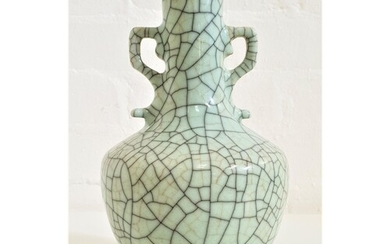 CHINESE SONG GE TYPE VASE with shaped side handles, in a pal...