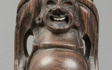Carved Wooden Buddha Figure on Base