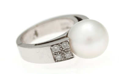 NOT SOLD. Chimento: A pearl and diamond ring set with a cultured South Sea pearl...