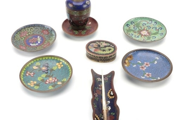 Chinese Cloisonné Plates, Vase and Box with Mother-of-Pearl Handled Dip Pen