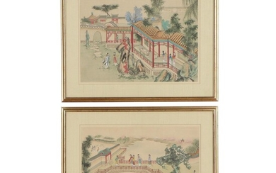 Chinese Gouache Paintings of Courtyard Scenes