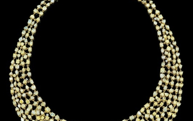 A Fancy Diamond Necklace Total Weight c. 78.17 ct