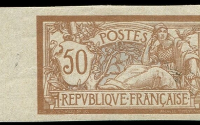 France 1900 - Merson 50 centimes brown and grey. Imperforate sheet edge VF - Yvert 120a