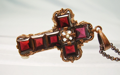 GARNET CROSS ANTIQUE SILVER AND ROSE GOLD.