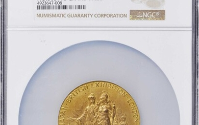 GREAT BRITAIN. Gilt Silver Medal, 1910. London Mint. NGC MS-65.