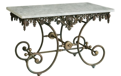 Iron and Marble-Top Baker's Table