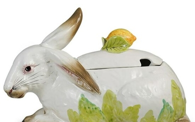Large Italian Porcelain Rabbit Tureen