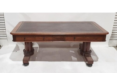 Late 19th/early 20th century large mahogany desk with leathe...