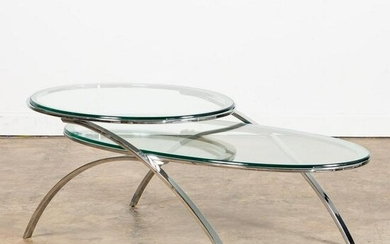 MCM TWO-TIERED OVAL CHROME & GLASS COFFEE TABLE