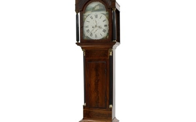 """Mahogany eight day longcase clock, the 13"""" painted arched di..."""