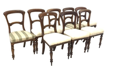 Matched set of eight Victorian mahogany dining chairs, with...