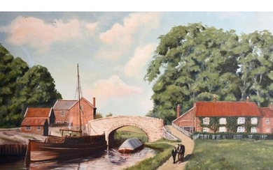 Michael Wood (20th century) A figure and horse on a towpath ...