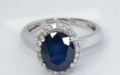 No Reseve Price -- 3.60 ct Deep Blue Sapphire On Knife Band - 14 kt. White gold - Ring - IGI Certified
