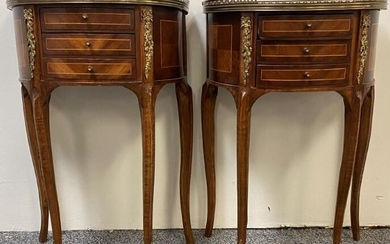 PAIR LOUIS XVI STYLE MARQUETRY SIDE TABLES