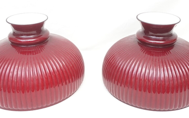 PAIR RUBY CASED GLASS LAMP SHADES