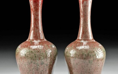 Pair 19th C. Chinese Qing Porcelain Peach Blossom Vases
