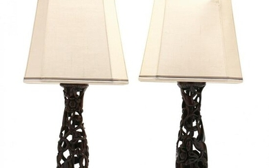Pair of Balinese Figural Carved Rosewood Lamps