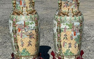 Pr. Chinese Rose Medallion Palace Vases on Stands