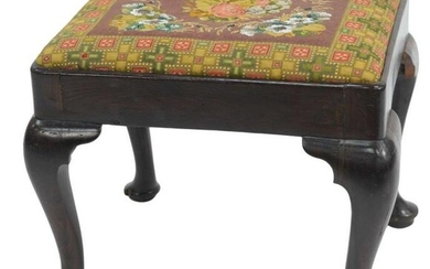 Queen Anne Walnut Footstool having rectangle top with