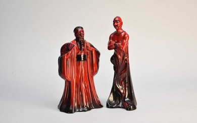 Royal Doulton flambe figures of 'Genie' HN2999 and 'Confucius' HN3314