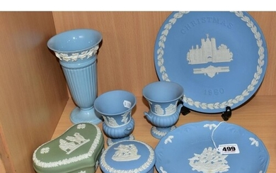 SIX PIECES OF WEDGWOOD JASPERWARE AND AN EMBOSSED QUEEN'S WA...