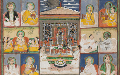 Sri Nath-Ji in a temple pavilion, surrounded by images of priests and aristocratic devotees, Nathdwara, Kotah, late 19th Century