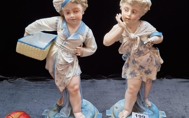 Star Lot : Two rare Charles Levy porcelain figures of cherub...