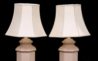 TABLE LAMPS, a pair, porcelain, late 20th century.