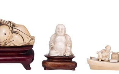 Two Chinese Republic period ivory sculptures, W 10,8 -10,3 cm - (with and without base) - H 7,3 - 5,2 cm (with and without base) / weight (with fixed base) c. 215 - 55 g.; added a Japanese Meiji-period ivory okimono, W 10,5 cm - weight c. 48 g.