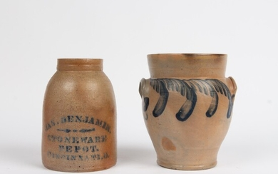 Two Salt-Glazed Stoneware Items, 19th c.