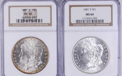 UNITED STATES OF AMERICA. Duo of Dollars (2 Pieces), 1881-S. San Francisco Mint. Both NGC MS-64 Certified.