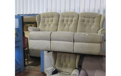Upholstered 3 Seater Settee, Reclining Arm Chair & Matching ...